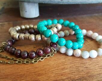 Paradise Bracelet Stack, Stacking Bracelets, Stackable Bracelet, Gemstone Bracelet, Yoga Bracelet, Boho Bracelet