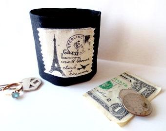 Money Wrist  Cuff  Secret Stash - PARIS   - hide your cash, key, jewels, health info ,  in a hidden inside zipper...