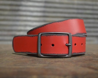 Distressed Red Leather Belt by FosterWeld