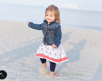 Nautical.. Anchor style SKIRTcoral and navy blue --- sailor skirt ...girls clothing...