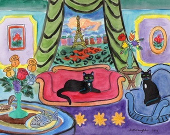 ORIGINAL PAINTING, 2 Black Cat Tourists in Paris, with Fresh Roses and Chocolate Covered Chipmunk by Fish Dinner, by DM Laughlin