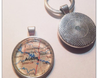 Austin Map key chain - Maps - Texas KeyChain - Austin Map Keychain gift idea