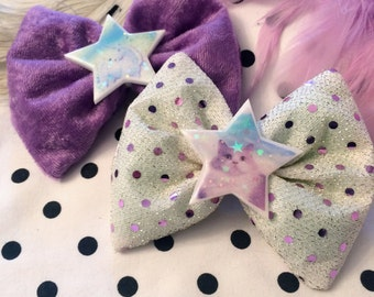 Lilac Velvet and Sequin Purple Cat and Unicorn Glitter Resin Hair Bows
