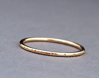 Simple Gold Ring Band , Minimalist Stackable Gold Ring , Textured Ring , Everyday Ring