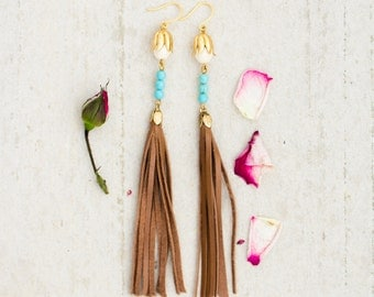 Leather and Turquoise Tassel Dangle Earrings, Long Tassel Earrings, Leather Earrings
