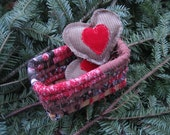 TINDERBOX  little hand coiled holiday BASKET with heart hand warmers  Number three
