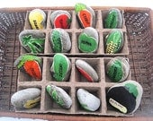 LAKE ROCK GARDEN  hand painted  stone row Markers  Free shipping