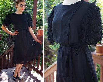 Black LACE 1970's Vintage Sheer Black Dress with Side Buttons + Puffed Layered Lacey Sleeves // size Small Med // by Monica Richards