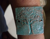 Tree of Life Bracelet Bar/Bead Connector/Cuff/Focal Bead in fired terracotta clay