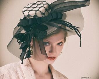 Black and Cream Extravaganza Hat Mini-Hat Fascinator