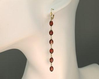 14K Gold and Garnet Shoulder Duster Earrings by Cavallo Fine Jewelry
