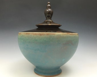 Urn - Vessel - Handmade Urn -Brown and Turquoise - Ready to Ship