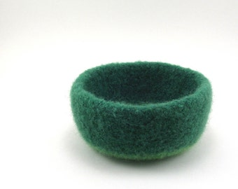 Wool felted bowl - office decor - wool basket - grass and spring green
