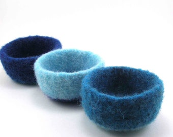 Felted wool bowls - wool ring bowl set - robin's egg, ocean blue and sapphire