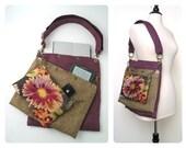 purple tote bag ,cross body bag, floral purse, crossbody handbag, book bag, laptop messenger bag, detachable 3 section bag,