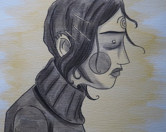 Blank Stare - original ink wash painting