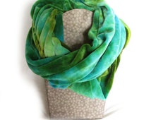 SALE Hand Dyed Bamboo Velour Circle Scarf, Blue and Green Blue Scarf, Organic Bamboo Velour