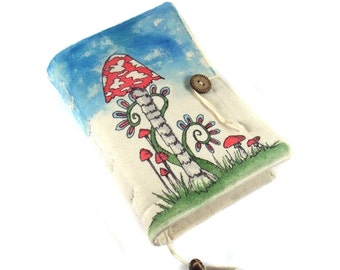 Mushrooms, Handmade journal, painted notebook