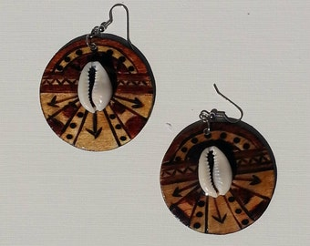 Down to Earth Round Wood Burned Earrings