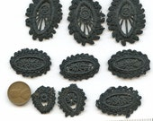 Lot of (9) pieces of Victorian Hand Worked Black Trim Vintage Antique Edwardian Handmade Hand Made 2803