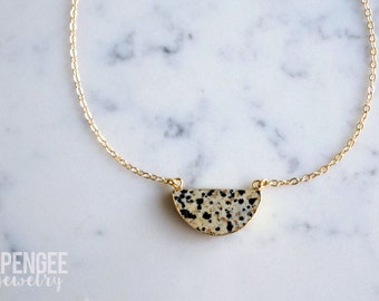 Halfmoon Jasper pendant. dainty goldfill chain necklace. spotted black and cream necklace gold necklace.