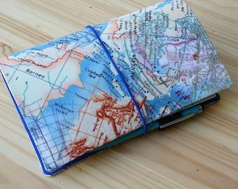 Fabric Fauxdori Travelers Notebook moleskin pocket size  midori passport size Map Asia Fabric water resistant interior