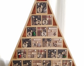 Christmas Tree Advent Calendar, Wooden Drawer Calendar, Christmas Countdown Calendar, Rustic Chic, Farmhouse Plaid, Snowflake, READY TO SHIP