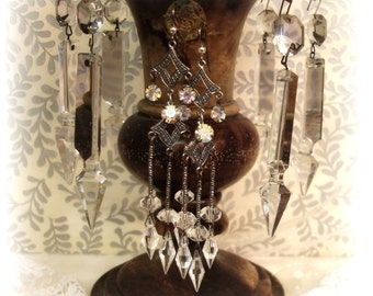 lumens one of a kind vintage assemblage earrings . divine compilation deco era crystals antique cut steels + sterling silver