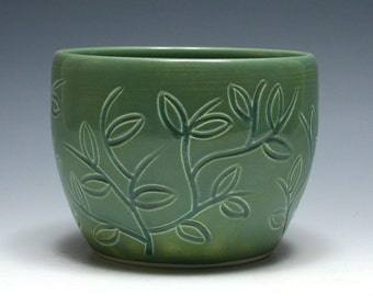 Green Bowl with Carved Branches and Leaves