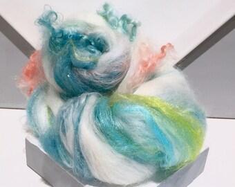 "Fiber Art Batt Roving,""Mermaid's Song""  white teal blue aqua, aquamarine, teal, yellow green, needle nuno felt, spinning fiber, mermaid"