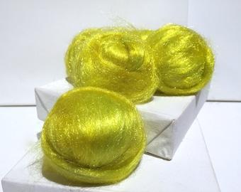 Acid Yellow Firestar, Needle Felting, Spinning Fiber, roving, .5 oz, Fluorescent yellow, Neon Yellow, Yellow green, similar to Icicle Top