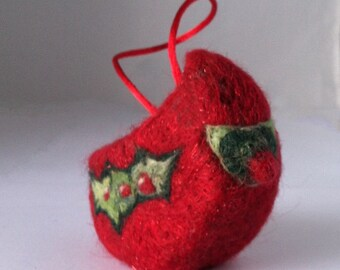 Wool Christmas Cardinal Ornament,  Holiday Decor, bird ornament, Needle Felted