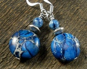 Blue sodalite stone, dyed fossilized dinosaur bone beads and silver handmade earrings