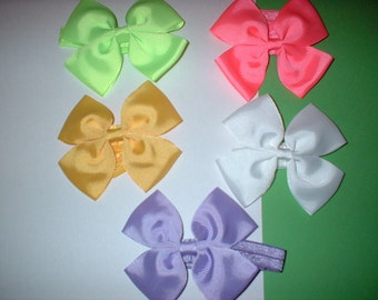 3    inch  Hair Bows on Headbands In  colors( 101)  total of 5