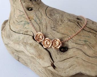 Rose Bud Necklace - 14k Rose Gold