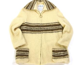 70s Southwestern Blanket Jacket / Vintage 1970s Bohemian Ranch Coat / Zip Up Cardigan Sweater of Arctic Sheep Wool / Medium