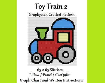 Toy Train 2 - Graphghan Crochet Pattern - Pillow / Panel / CroQuilt