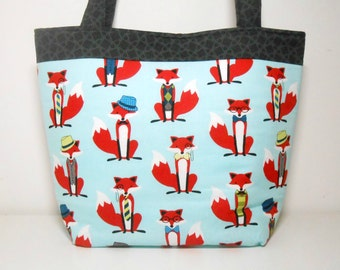 Fox Large Tote Bag, Aqua and Red Fox Diaper Bag with Pockets, Large Fabric Tote Bag