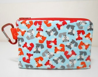 Fox Clip On Coin purse, Carabiner Coin Purse, Clip On Zipper Pouch, Mini Foxes Coin Purse