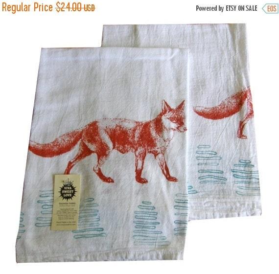Dish Towel Sale: ON SALE Fox Kitchen Dish Towel Set/2-Cotton Flour By