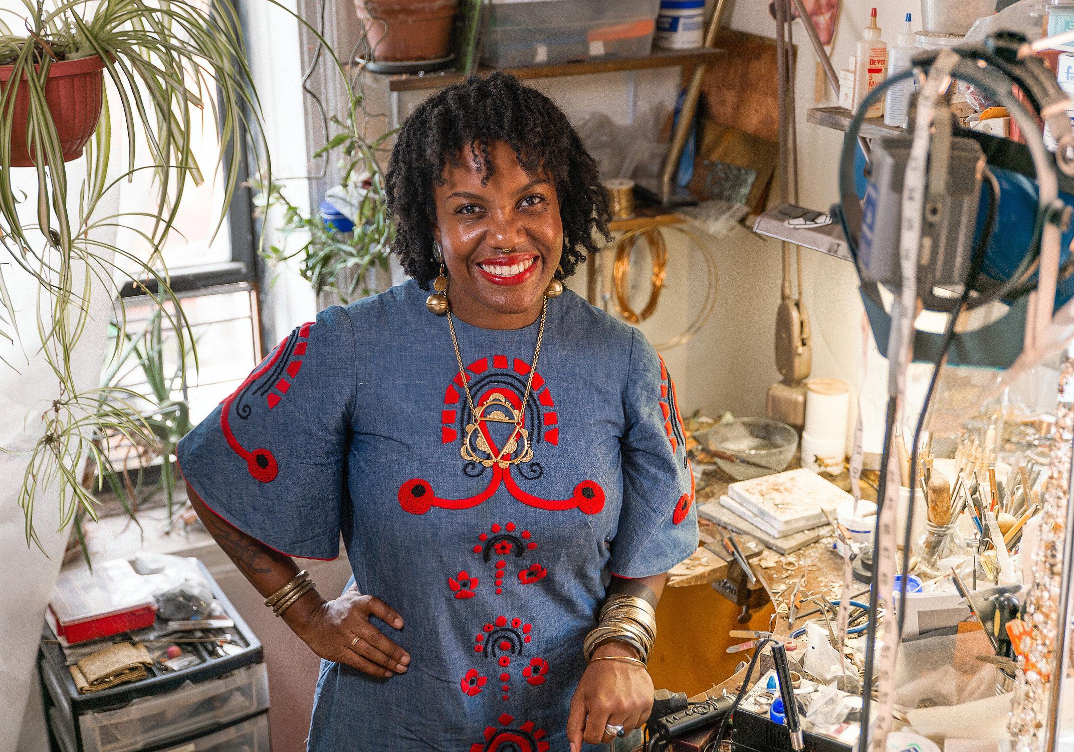 Lingua Nigra owner Alicia Goodwin in her jewelry studio