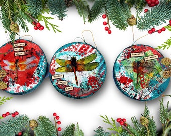 Holiday Ornaments with Dragonfly Art | Set of Three Christmas Ornaments | round red and green | memorial ornaments