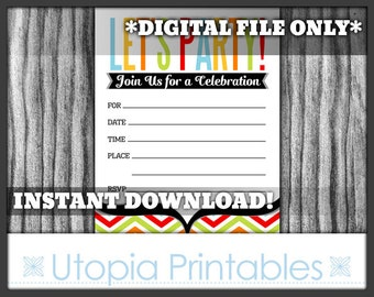 Fill In The Blank Party Invitation Chevron Printable Digital Simple Retro Modern Mod Contemporary Theme Multicolor Multi Color Multicolored
