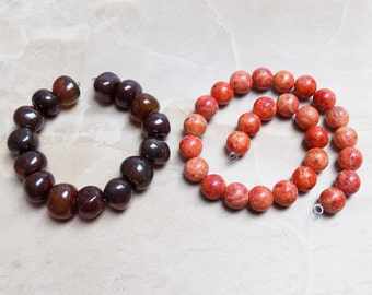 Carnelian Agate and Sponge Coral beads