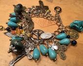 Catholic Charm bracelet Christian cross blessed mother old turquoise jasper gemstones vintage jewelry pope jesus