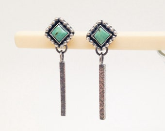 Turquoise Dangle Earrings, Sterling Silver Stone Earrings, Artisan Silversmith, Delicate Long Earrings, Boho Chic Earrings, Bohemian Style
