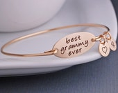 Best Grammy Ever Bracelet, Gift for Grammy, Bangle Bracelet Christmas Gift with Personalized Initial Charms, Gold Bracelet