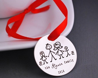 Personalized Christmas Tree Ornament, Family Stick Figure Christmas Ornaments, Holiday Decoration, Custom Ornament