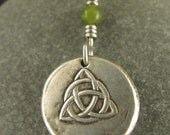 Trinity Knot, Triquetra,  Wax Seal Charm Pendant, Fine SIlver and Connemara  Marble,  Irish Celtic Jewelry, Necklace