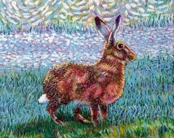 Original wildlife painting, Impressionist art, Golden Hare woodland animal, 8x8 small painting for animal lover, animal painting